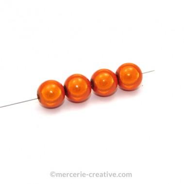 Perles magiques 4 mm orange x6