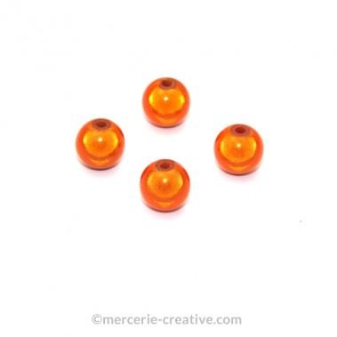 Perles magiques 8 mm orange x6