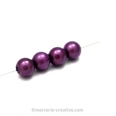 Perles magiques 4 mm violet x6