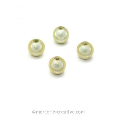 Perles magiques 8 mm ivoire x6