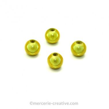 Perles magiques 8 mm vert pomme x6
