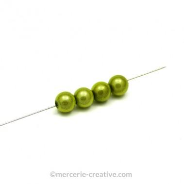 Perles magiques 10 mm vert pomme x4