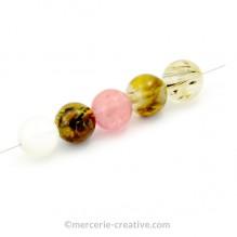 Perle gemme agate pastèque 10 mm x1