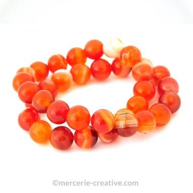 bracelet-perles-agate-rouge cornaline 8mm x1