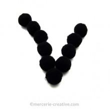 Pompons noirs souples x10