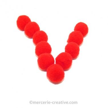 Pompons rouges souples x10