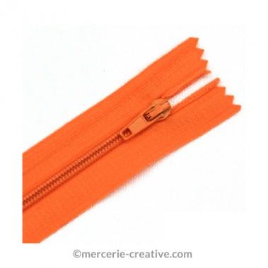 Fermeture à glissière orange - 19,5 cm