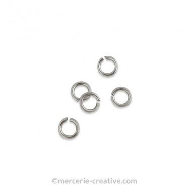Anneaux ouverts métal argenté 4mm x20