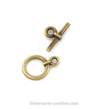 Fermoir T rond 13 mm bronze