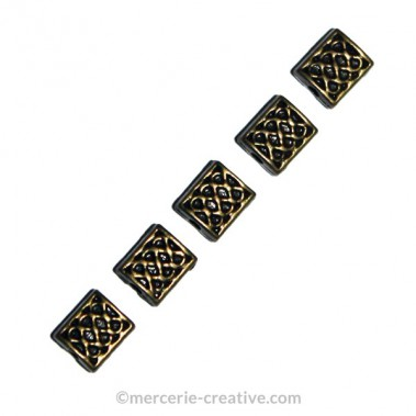 Perles rectangle bronze x10