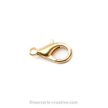 Fermoir mousqueton 12 mm métal doré