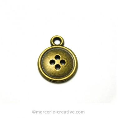 Breloque bouton bronze x6