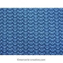 Coupon de tissu vagues bleues