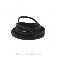 Cordon cuir plat noir 3mm x1M