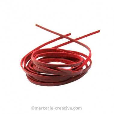 Cordon cuir plat rouge 3mm x1M