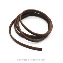 Cordon cuir plat brun 3mm x1M