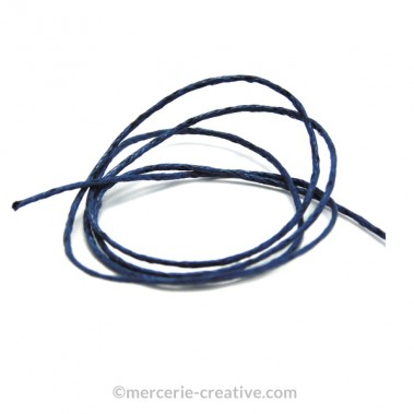 Cordon coton ciré bleu profond 1mm x1M