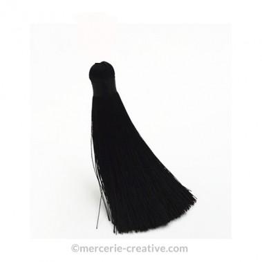 Pompon long noir 12 cm x1