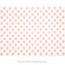 Coupon de tissu blanc à pois rose