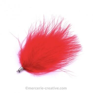 Plume bijou avec attache rouge 80mm x1