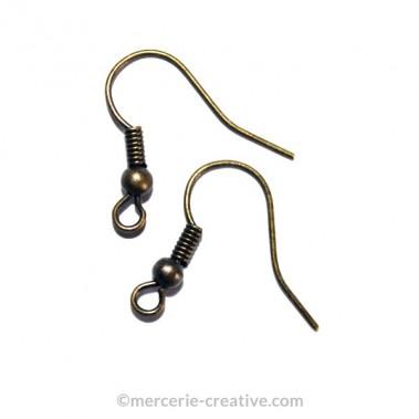 Crochet boucle d'oreille bronze 16 mm x6
