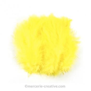 Plume jaune décoration x10