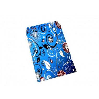 Pochette cadeau papier glacé bleu motifs variés