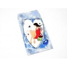 Pochette cadeau papier motif shopping bleu X1