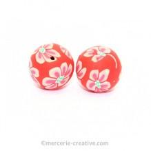 Perle Fimo fleur rouge 18 mm x2