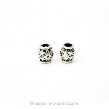 Perles intercalaires Tambour fleur 6 mm X4