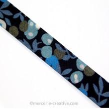 Biais Liberty Wiltshire bleu noir x10cm