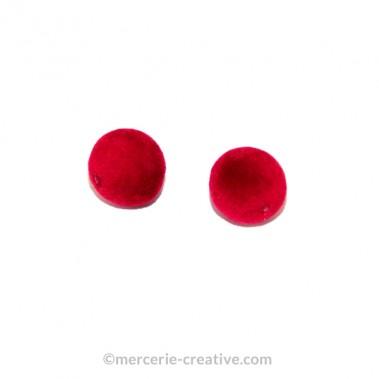 Pompon rouge percé x2