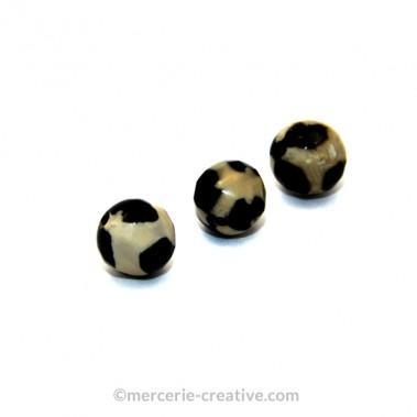 Perle agate tibétaine à facette noire et blanche x3