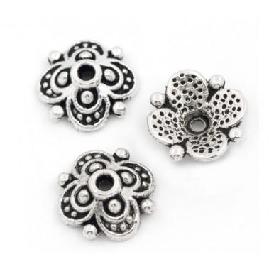 Coupelle fleur en métal argenté x1