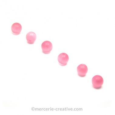 Perle oeil de chat 6 mm rose clair x4