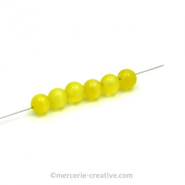 Perle oeil de chat 4 mm jaune x10