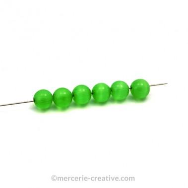 Perle oeil de chat 4mm vert clair x10