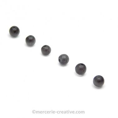 Perle oeil de chat 6 mm gris foncé x4